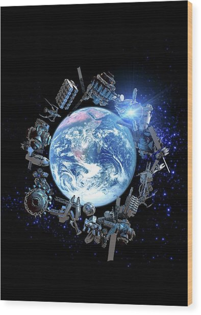 Space Junk, Conceptual Artwork Wood Print by Victor Habbick Visions