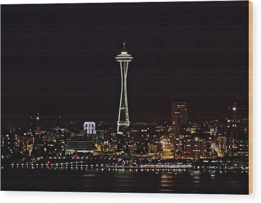 Space Needle At Night Wood Print by Marv Russell