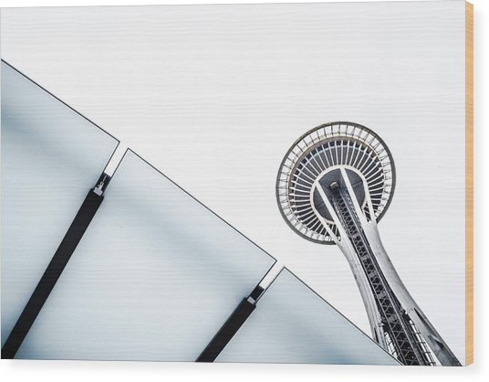 Space Needle On White Wood Print