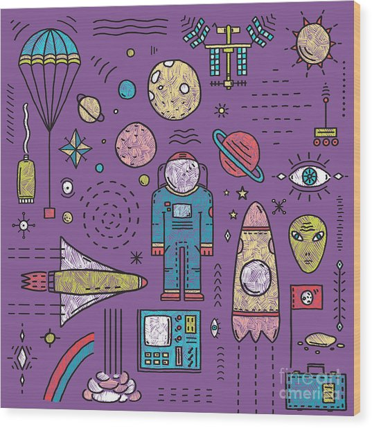 Space Planets Stars Cosmonaut Design Wood Print by Popmarleo
