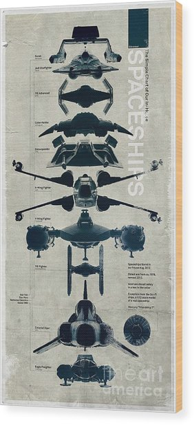 Space Ships Wood Print by Baltzgar