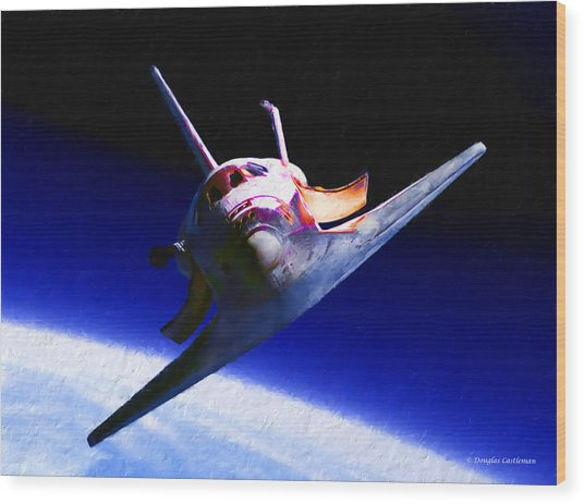 Space Shuttle Head On Wood Print