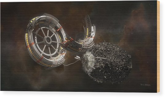 Wood Print featuring the digital art Space Station Construction by Bryan Versteeg