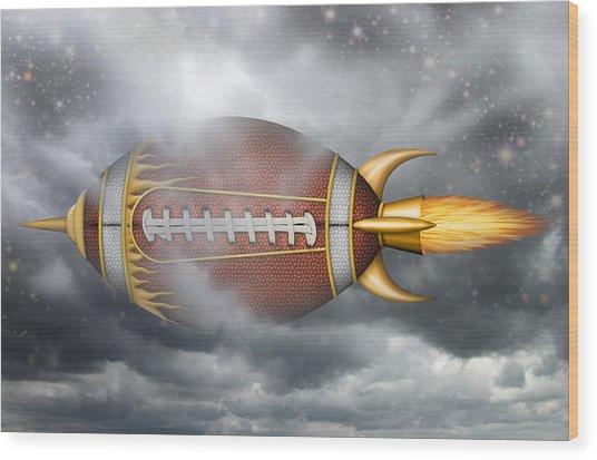 Spaceship Football Wood Print