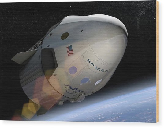 Spacex's Crew Dragon In Orbit Wood Print
