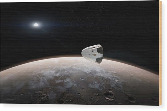 Spacex's Red Dragon At Mars Wood Print by Spacex/science Photo Library
