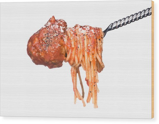 Spagetti And Meatballs On A White Background Wood Print