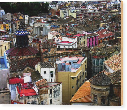 Spain - Tarragona Citiscape Wood Print by Jacqueline M Lewis