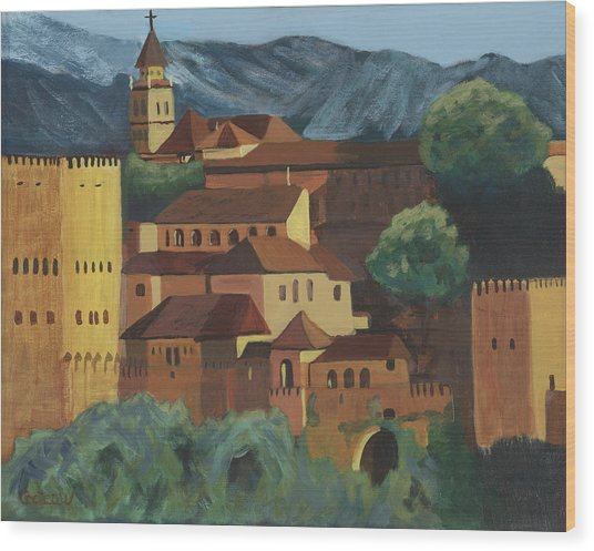 Wood Print featuring the painting Spain by Jane Croteau