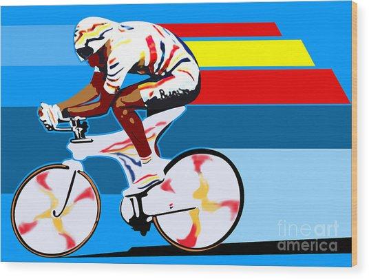 spanish cycling athlete illustration print Miguel Indurain Wood Print