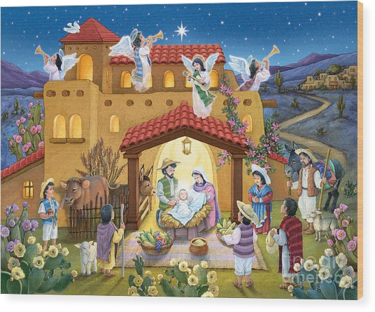 Spanish Nativity Wood Print