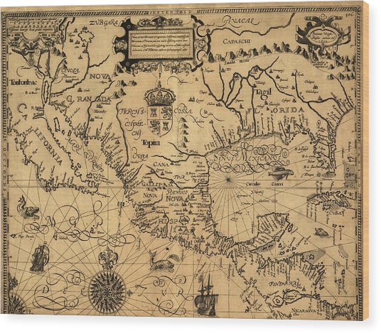 Spanish North America Wood Print