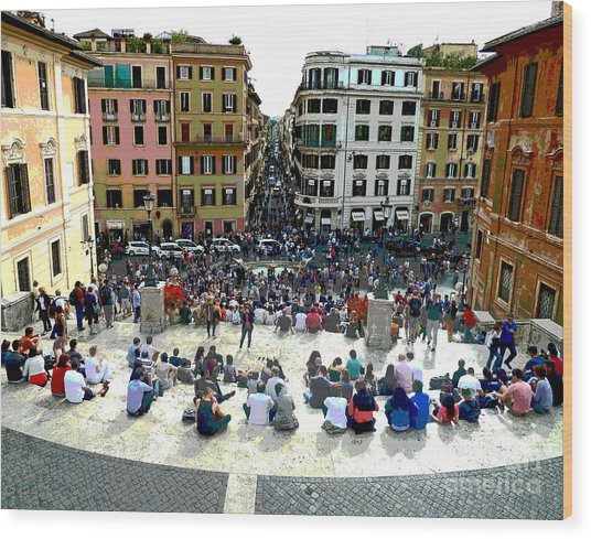 Spanish Steps Looking Down Wood Print
