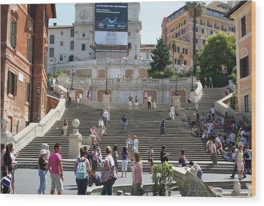 Spanish Steps With People Wood Print by Pejft