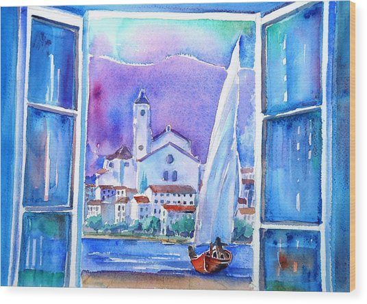 Spanish Window In Cadaques And The Church Of Santa Maria Wood Print