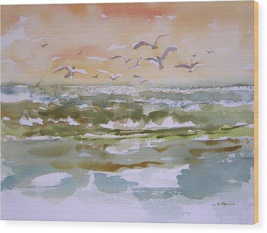 Sparkling Surf Wood Print