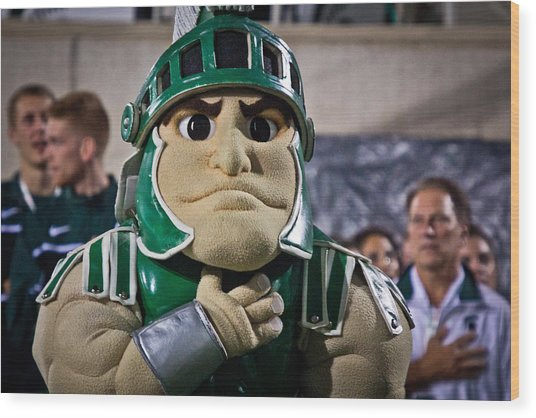 Sparty And Izzo National Anthem  Wood Print