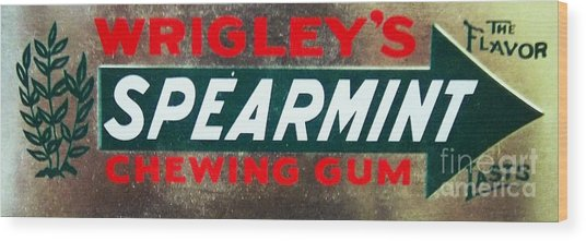 Spearmint Gum Sign Vintage Wood Print