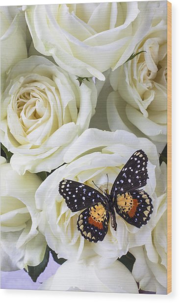 Speckled Butterfly On White Rose Wood Print