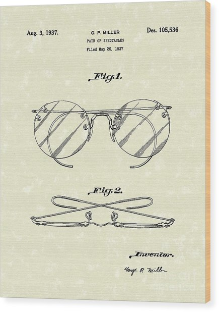 Spectacles 1937 Patent Art Wood Print