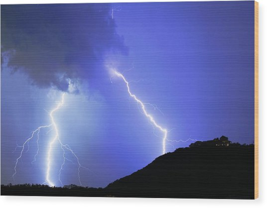 Spectacular Double Lightning Strike Wood Print