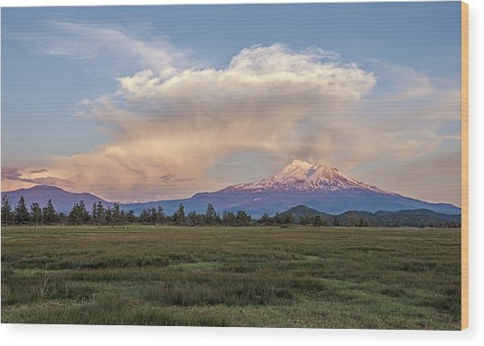 Spectacular Shasta Valley Sunset Wood Print