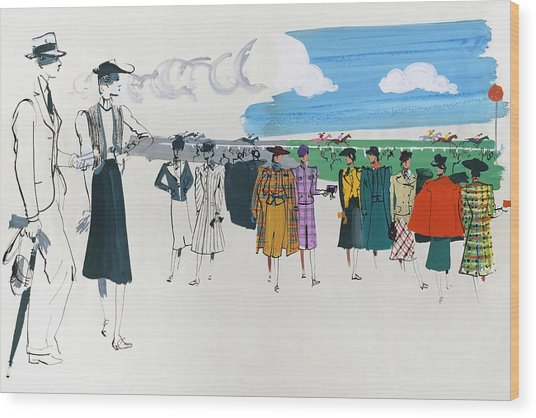 Spectators At A Horse Race Wood Print by Jean Pages
