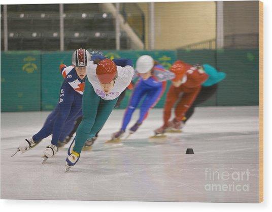 Speed Skaters Wood Print