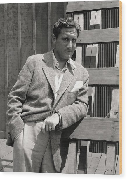 Spencer Tracy Wearing A Tweed Sports Jacket Wood Print by Imogen Cunningham