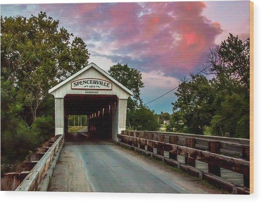 Spencerville Covered Bridge At Sunset Wood Print