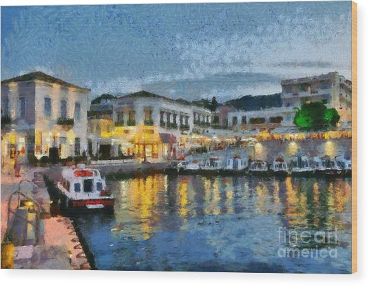 Spetses Town During Dusk Time Wood Print