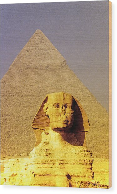Sphinx And Pyramid Wood Print