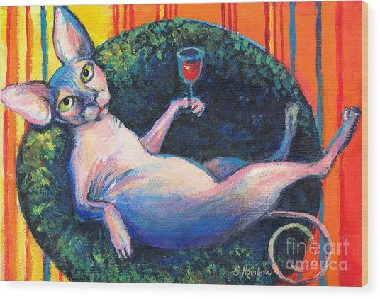 Sphynx Cat Relaxing Wood Print
