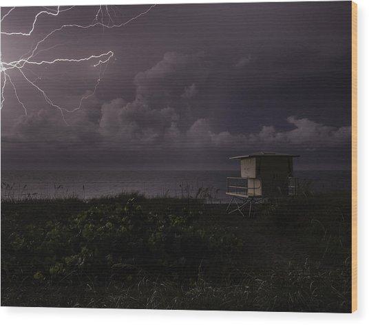 Spider Lightning Wood Print