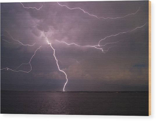 Spider Lightning Over Charleston Harbor Wood Print