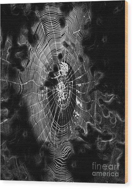 Spider Noir Wood Print