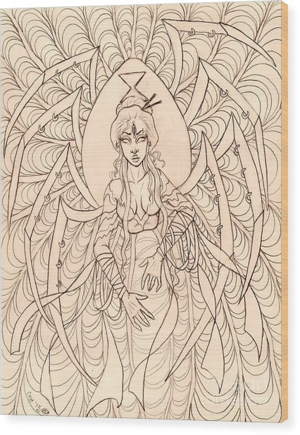 Spider Seer Sketch Wood Print by Coriander  Shea