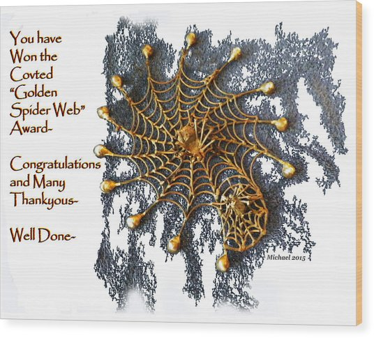 Spider Web Congratulation Thank You Well Done Wood Print