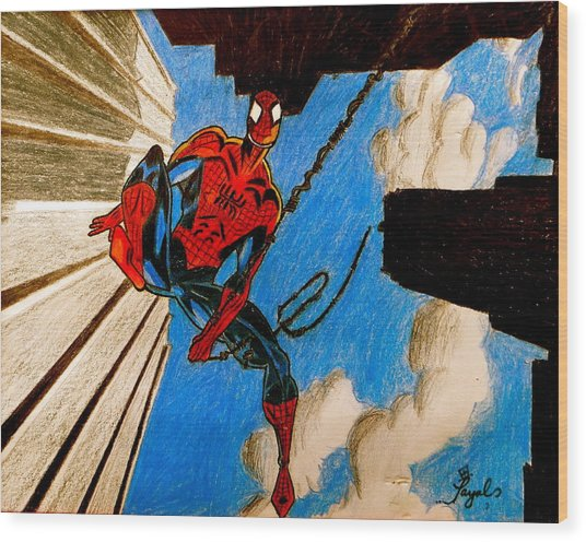 Spiderman Wood Print by Artistic Indian Nurse