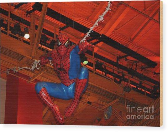 Spiderman Swinging Through The Air Wood Print