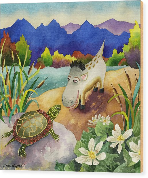 Spike The Dhog Comes Nose To Nose With A Painted Turtle Wood Print by Anne Gifford