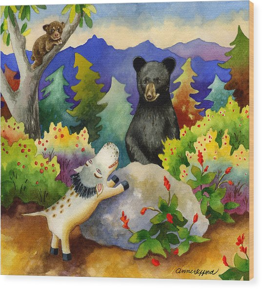 Spike The Dhog Encounters A Mother Bear In The Forest Wood Print by Anne Gifford