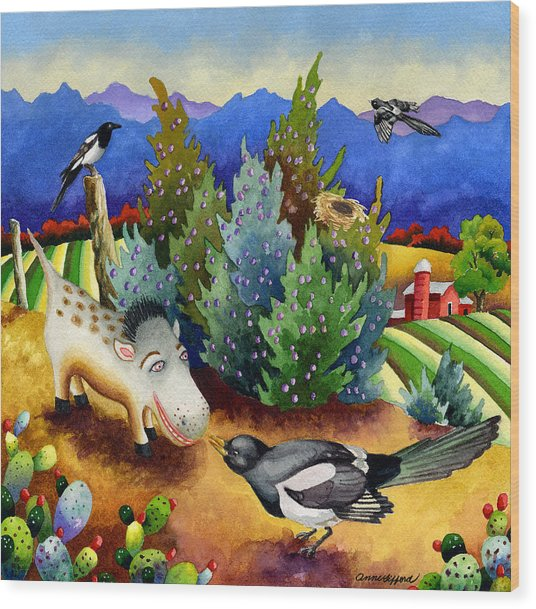 Spike The Dhog Meets A Magpie Wood Print by Anne Gifford
