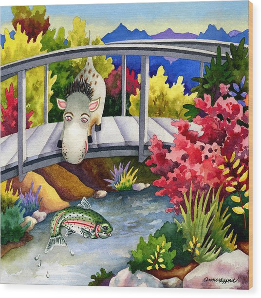 Spike The Dhog Watches A Jumping Trout Wood Print by Anne Gifford