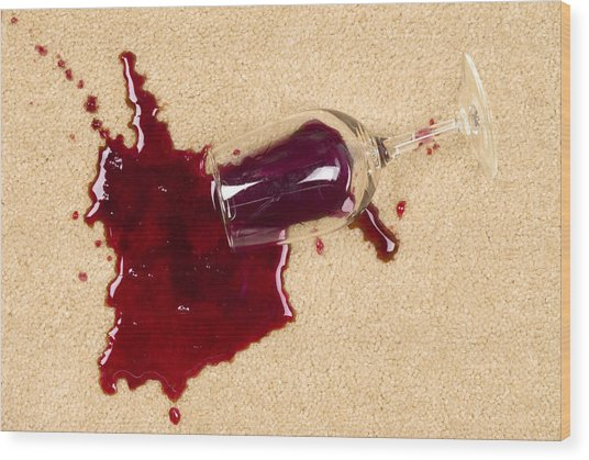 Spilled Wine On Carpet Wood Print