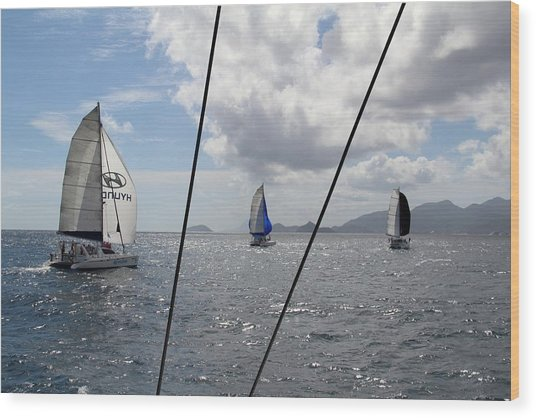 Wood Print featuring the photograph Spinnakers In The Seychelles by Debbie Cundy