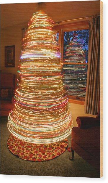Spinning Christmas Tree Wood Print