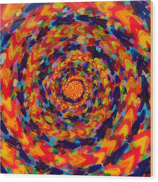 Spiral Color 14-49 Wood Print by Patrick OLeary