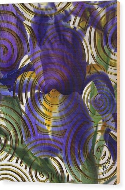 Spiral Iris Wood Print