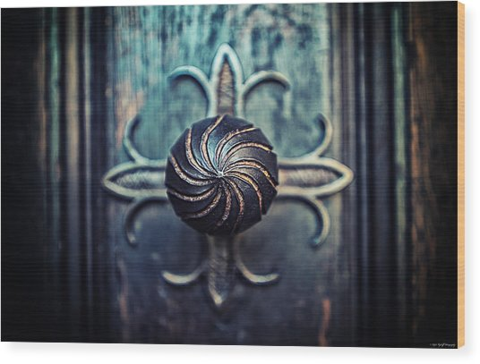 Wood Print featuring the photograph Spiral Knob by Ryan Wyckoff